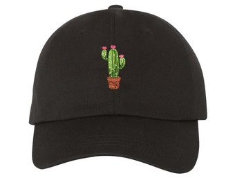 CACTUS FLOWER | Dad Hat | Succulents | Plants | Succulent Pot | Flower | Cactus Pot | Prickly Pear | Cactus| Nopal | Tumblr Dad Hat,Black