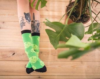Green Mint Monstera Socks, Green Leaves, Patterned Socks for Men and Women, Spring, Plants, Socks Nerd, Socks Lover, Green Gift, Socks Groom