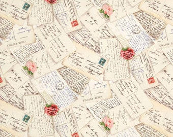 French Post Cream - One Yard - Michael Miller Fabric