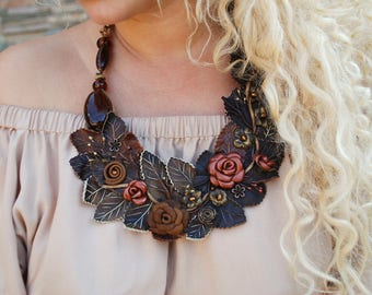 "Necklace ""Luxury"", Leather Necklace, Handmade Necklace"