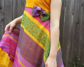 Mother Daughter Matching - Toddler and Little Girls Lined Sleeveless Sari Silk Dress - Yellow and Lavender Stripe - Nila 3064