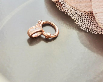 vermeil clasp, rose gold clasp, Sterling Silver clasp, clasp silver plated and 925 twisted rose gold 18 k