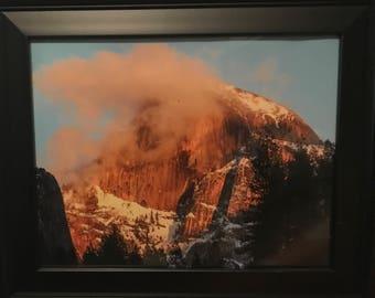 Framed Yosemite Half Dome Lit by Sunset Photo