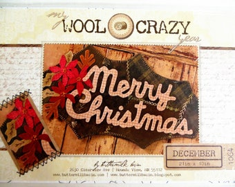 December BOM, Wool Applique Pattern, My Wool Crazy Year, Merry Christmas, Buttermilk Basin 1064, Felt Applique, Folk Art Pattern, Quilt BOM