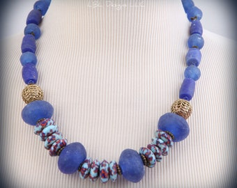 African jewelry, Multicolored Ghana glass beads, Ethnic jewelry, Jewelry set, Blue jewelry, Gypsy jewelry, Chunky necklace, Christmas gift