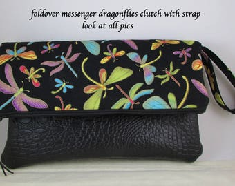 Clutch Bag - Colorful Dragonflies Fabric - Great Gift Idea - Evening Bag - Handbag Wristlet Bag with Black Leather Like Accent and Strap