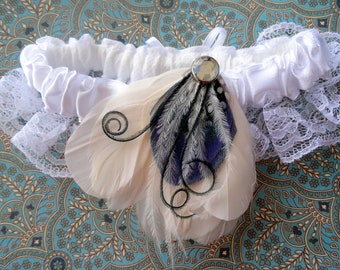 KAMBER Ivory and Royal Blue Peacock Feather Garter Clip