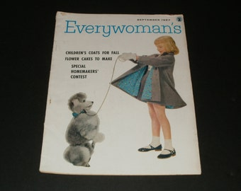 Everywomans Magazine September 1957 -  Art, Scrapbooking, Retro Vintage Ads, Hair Styles, Nostalgic 1950s