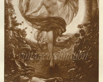 Antique Print, Photogravure The Vision Of Endymion, 1936, beautiful wall art vintage sepia illustration