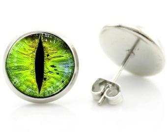 Green Eye Stud Earrings - New - Pair!