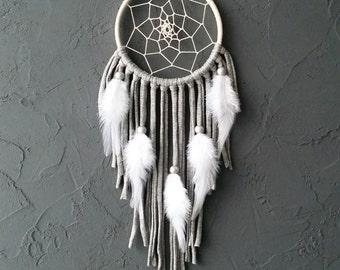 Beige Gray Dream Catcher, Medium Dreamcatcher, car dream catcher, boho dreamcatchers, wall decor, wall hanging, handmade