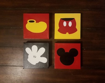 Hand Painted ------- set of 4 Mickey Images