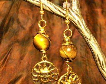 Sunny Lugh Earrings... Tigers Eye, Sun, Bronze, Sunshine, Summer, Lughnassadh, Pagan, Wicca