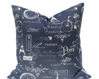 15% Off Sale Navy Pillow , Navy Pillow Cover , Blue Pillow Blue Pillow Cover French Decor French Pillow Paris Throw Pillow cover Decorative