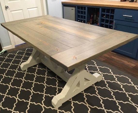 farmhouse trestle table. Black Bedroom Furniture Sets. Home Design Ideas