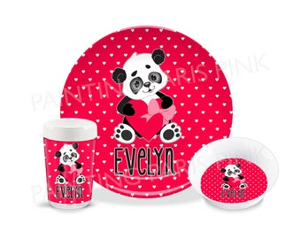 Panda Love Melamine Dinnerware | Personalized | Customized | Buy 1 Piece or as a Set | Valentine