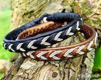 Sami Bracelet ODIN Custom Handmade Norse Pagan Jewelry in Reindeer leather or Lambskin with Pewter Braid and Antler Closure