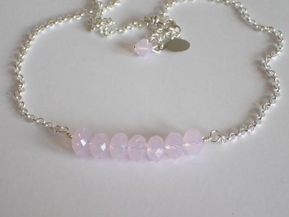 Rose Water Opal Swarovski Crystal Bar Necklace,  Sterling Silver