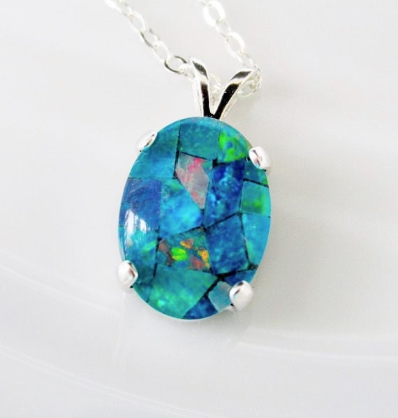 Australian opal necklace sterling silver opal pendant australian opal necklace sterling silver opal pendant australian mosaic opal necklace gits for her october birthstone necklace aloadofball Image collections