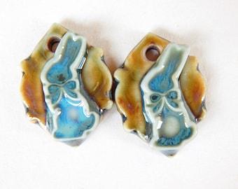 Bunnies ceramic charms, rustic bunnies earrings charms, bunnies earrings charms, bunnies jewelry supplies, handcrafted earrings Findings