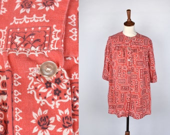 Vintage Red and White Handkerchief Print Top