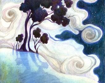 "Beautiful Art Print, limited edition - ""One Bright Night"""