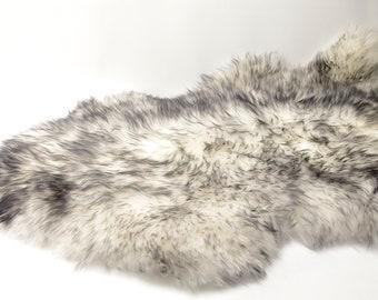 Sheepskin Rug - White with Black Tips