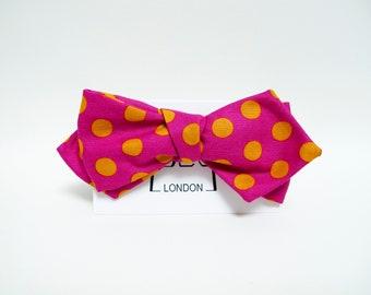 Dark fuchsia and apricot large polka dots print slim bow tie
