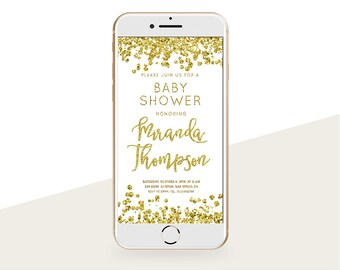 Glitter baby shower etsy gold glitter baby shower invitation iphone e card sms message invitation baby shower smartphone invitation filmwisefo Choice Image