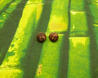 "Soul slices ""yin yang life tree"" wooden metal earrings 13mm"