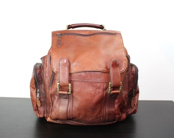 Vintage Colombian Leather Backpack, Brown Worn In Leather, Unique Large Boho Style Bag, Drawstring, Festival Pack, Pockets 150017
