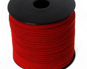 5 Metters look red 3 mm suede Ribbon