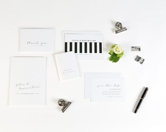 Invitation wedding Black and white noble in black and white deposit