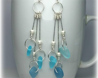 Sea Glass Earrings Sterling Silver Drop Earrings Statement Jewelry Long Dangle Earrings Blue Statement Earring Mother Gift Sea Glass Jewelry