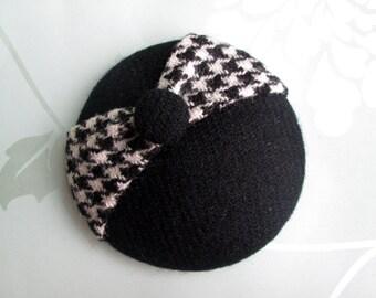 Black Tweed Hat - Black Fascinator, Wool Hat, Fascinator Hat, Harris Tweed Hat, Button Hat, Womens Hat, Black Hat, Vintage Style, Retro