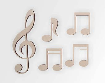 Wooden Music Cutout (5 Pack) | Musician Gift Ideas | Musical Notes | Cutout, Home Decor, Unfinished and Available from 12 to 42 Inches Tall