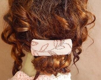 CLEARANCE - Peach barrette,embroidered barrette, fabric barrette, hair accessory, fashion accessory