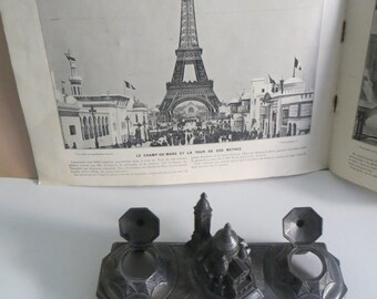 Vintage Art deco Inkwell. Souvenir of Paris. Montmartre . Made in France and a french universal exposition magazine