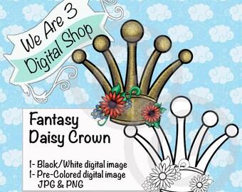 We Are 3 Digital Shop, Fantasy, Daisy, Crown, Princess, Digital Stamp