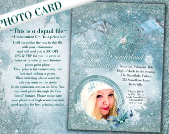 Winter Quince, Snowflake Sweet 16, Winter Wonderland Birthday, Christmas Photo Cards, Holiday Photo Greeting Card