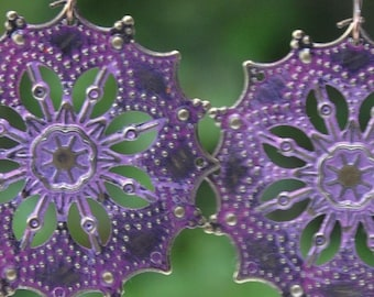 Purple Patina Earring Patina Jewelry Earring Purple Jewelry Flower Boho Jewelry Bohemian Jewelry Boho Jewelry Tribal Jewelry Hippie Jewelry