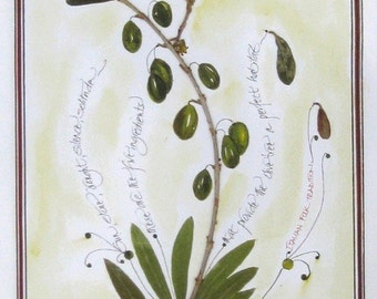 The Noble Olive-a leafages print ready to frame