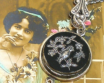 SongBird Antique BUTTON necklace, Victorian black glass on silver chain.1800s button jewellery.
