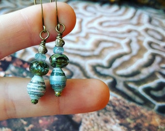 Monet Art Calendar Paper Bead Earrings Color Stacks