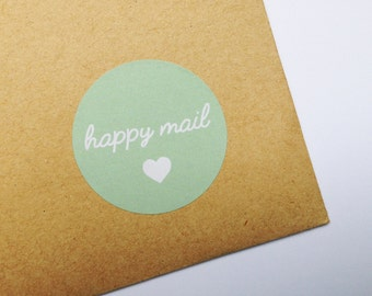 Happy Mail Stickers, Happy Post Labels, Thank You Stickers, Pretty Packaging Stickers, Wedding Invite Labels,