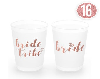 Rose Gold Bachelorette Party Cups   Bride Tribe + Bridal Shower Cups - 16 Count 16 Oz.   Engagement Party Decoration and Bride To Be Gift