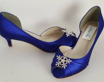 Blue Wedding Shoes with a Crystal Snowflake Blue Bridal Shoes Blue Kitten Heels 100 COLOR CHOICES Cobalt Blue Shoes Royal Blue Shoes