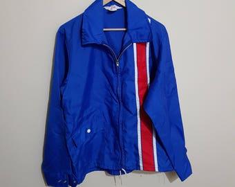 Vintage blue bomber style jacket, 70 s bomber jacket, 80 s bomber jacket, blue jacket, zip ups, size men's Medium