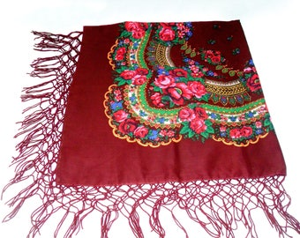 Mothers Day Gift Shawl Oversized Scarf Coworker Gift Wool floral shawl made in USSR Ethnic Ukrainian  Russian shawl Floral scarf Bordo shawl
