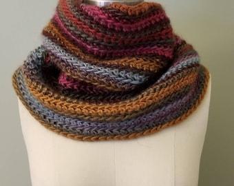 Handmade Multi colored Crocheted  Infinity Scarf